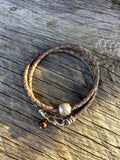 Men's Bola Leather Wrap with Om Bead