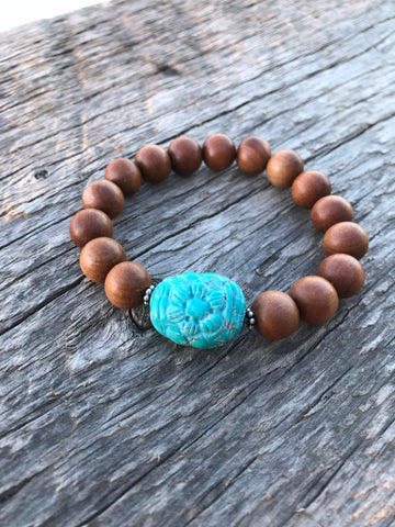 Turquoise Hand Carved Nugget and Sandalwood Bracelet