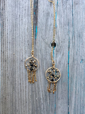 Black & Gold Gemstone Dreamcatcher