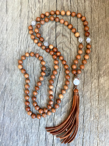 Moonstone and Sandalwood Mala