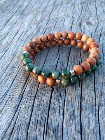 Emerald & Sandalwood Stretch Bracelet