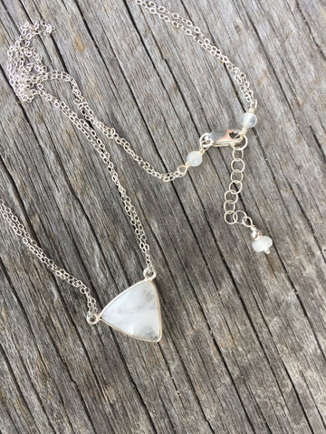 Moonstone and Silver Triangle Necklace