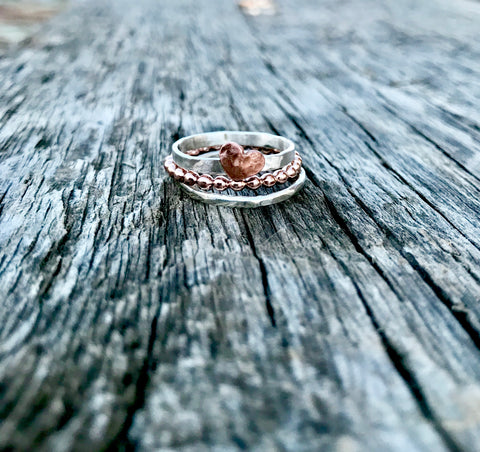 Heart & Rose Ring Set