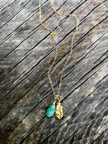 Emerald & Gold Feather Necklace