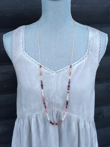 Garnet and Pink Gemstone Long Layering Necklace