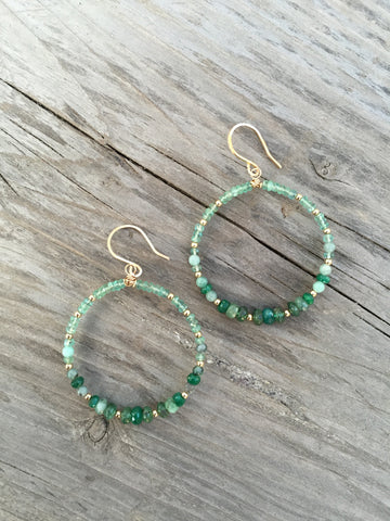 Emerald and Gold Hoop Earrings