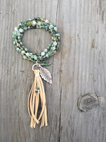 Emerald and Peruvian Opal Tassel Necklace