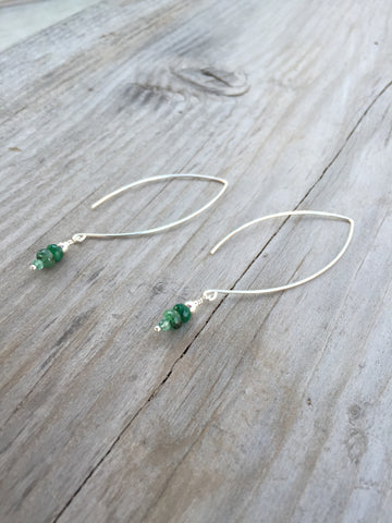 Emerald and Silver Dangle Earrings