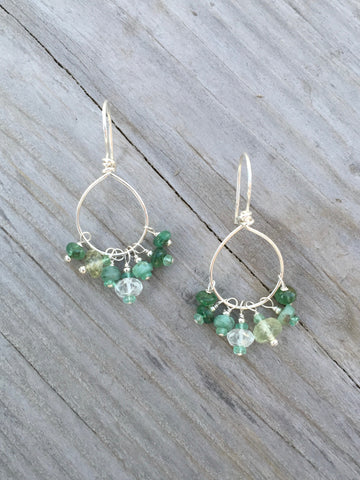 Emerald and Aquamarine Earrings
