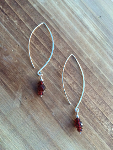 Garnet Dangle Hoop Earrings