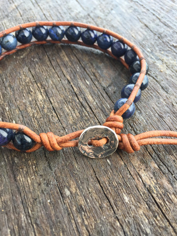 Men's Denim Gemstone Bracelet, Dumortierite & Leather