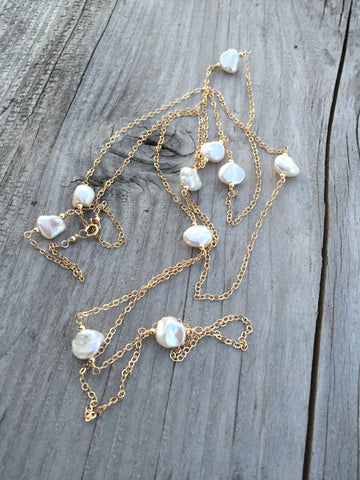 Nugget Pearls and Gold Layering Necklace