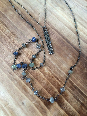 Diamond Bar and Sapphire Double Strand Necklace