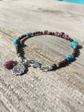 Boho Mixed Gemstone with Ruby Charm Bracelet