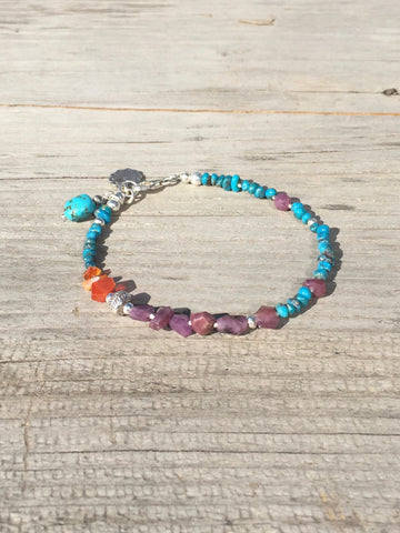 Ruby Opal and Turquoise Bohemian Charm Bracelet