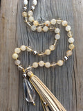 Golden Rutilated Quartz Tassel Necklace-108 Bead Mala