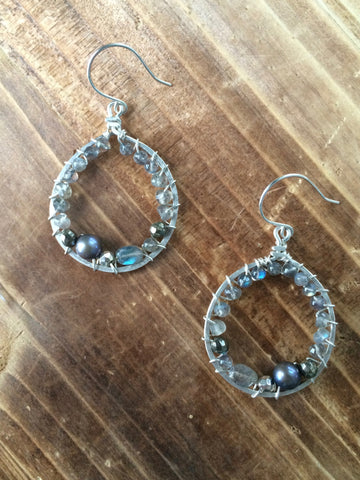 Silver Labradorite Gemstone Earrings