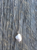 Large Baroque Pearl and Silver Necklace