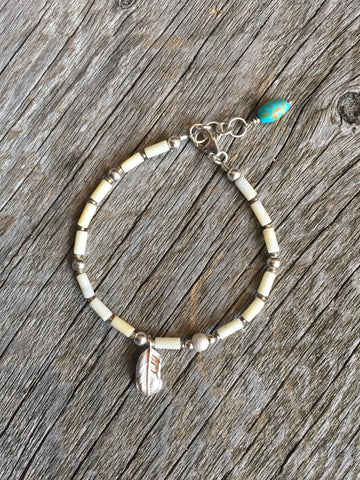 Silver Feather & Turquoise Charm Bracelet
