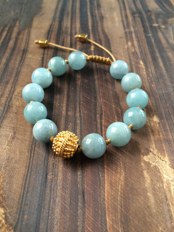 Aquamarine and Vermeil Stacking Bracelet