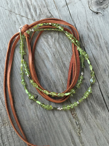 Peridot Long Layering & Leather Tassel Necklace