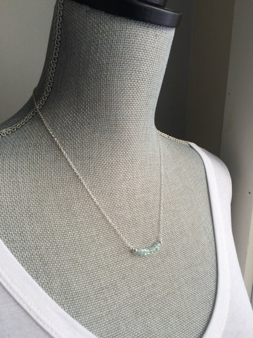 Aquamarine Gemstone Bar Necklace