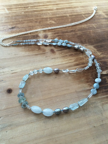Aquamarine Gemstone Long Layering Necklace