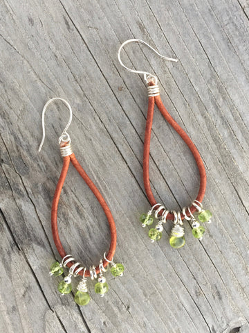 Peridot and Leather Hoop Earrings