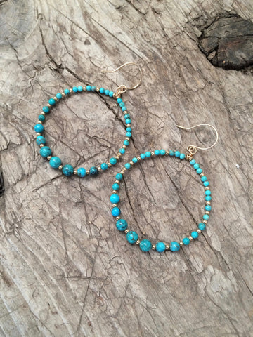 Turquoise & Gold Hoop Earrings