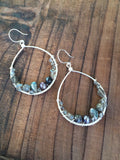 Labradorite Nested Silver Hoop Earrings