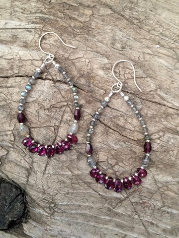 Garnet and Labradorite Hoop Earrings