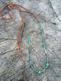 Turquoise and Leather Long Beaded Necklace