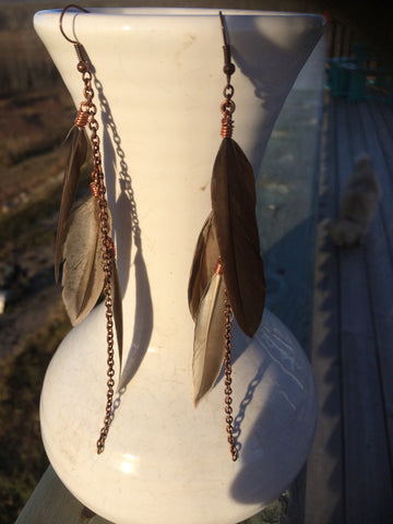 Grey/Brown Feather Earrings
