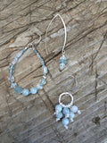Aquamarine and Leather Knotted Earrings