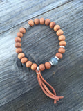 Sapphire and Sandalwood Stretch Yoga Bracelet with Tassel