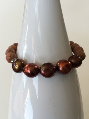 Bronze Nugget Pearl with Pyrite and Fragrant Sandalwood Yoga Bracelet