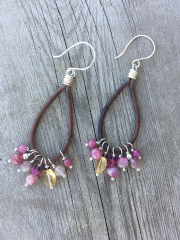 Pink Tourmaline boho Earrings
