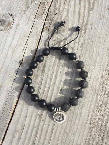 Black Onyx & Lava Bead with Silver Om Charm