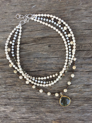 White Gemstone Strand Choker & Pendant Necklace