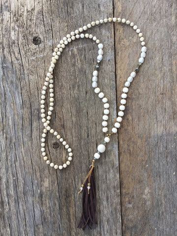 Bone & White Jasper with Chocolate Tassel Necklace
