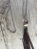 Smokey Quartz Nugget & Sterling Silver with Chocolate Tassel Necklace