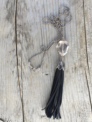 Smokey Quartz Nugget & Sterling Silver with Black Tassel Necklace
