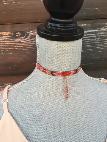 Seed Beaded Choker-Berry & Copper