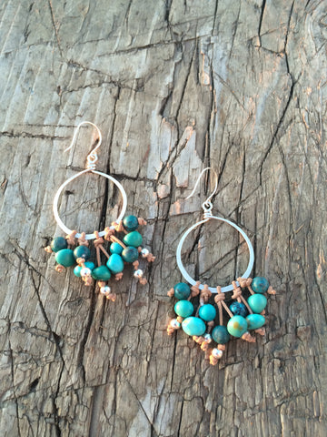 Turquoise and Leather Silver Hoop Earrings