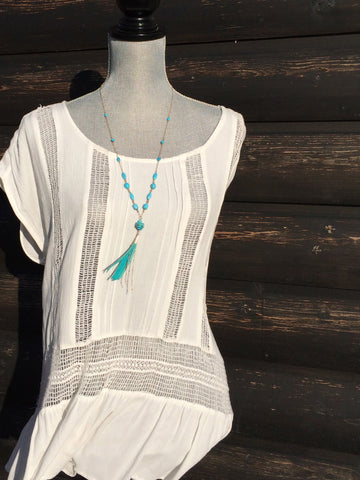 Turquoise and Leather Gold Tassel Necklace