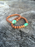 Chrysoprase Nugget and Sandalwood Yoga Bracelet