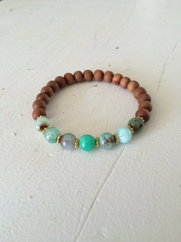 Chrysoprase and Sandalwood Yoga Bracelet