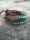 Turquoise Tiger eye Amazonite Leather Wrap Bracelet