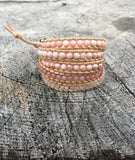 Pink Gemstone and Leather Wrap Bracelet