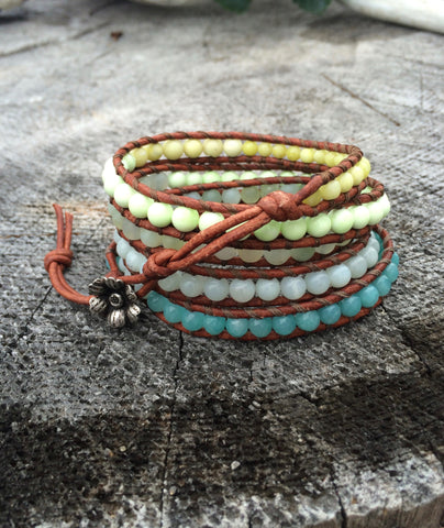 Mint and Lime Gemstone Leather Wrap Bracelet